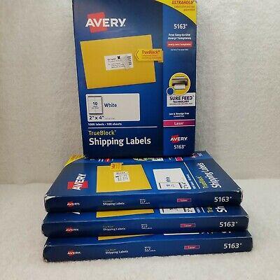 Avery Shipping Labels Trueblock Laser 2 X 4 White 1000box 5163 4 Box Pack