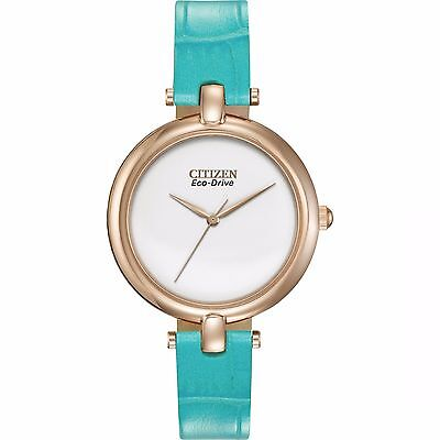Citizen Eco-Drive Women's EM0253-20A Silhouette Turquoise Strap 34mm Watch