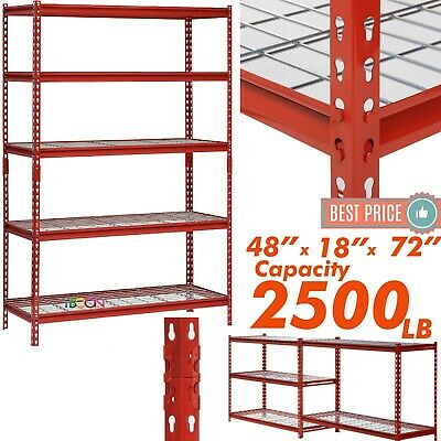 Heavy Duty Metal Muscle Rack Wire Shelving Storage 48w X 18d X 72h 5 Shelves