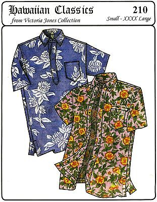 Hawaiian Button Down & Pullover Aloha Shirt S-4XL Victoria Jones Sewing Pattern