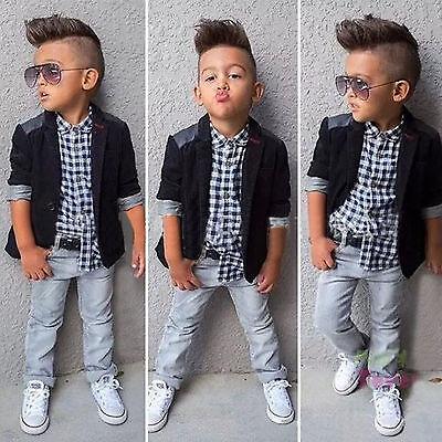 3tlg Kinder Jungen Kinderanzug Jacke + Shirt + Hose Taufe Hochzeit Party Outfit
