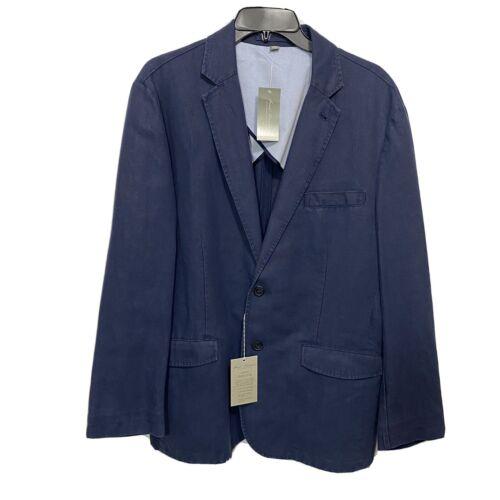 $250 DANIEL CREMIEUX Mens Linen Sport Coat Blazer Jacket Large Navy Blue Clothing, Shoes & Accessories