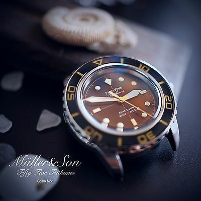 "Müller&Son Watch ""Gold Mod 1 No Date"" made from Seiko SNZH57 Fifty Five Fathoms"