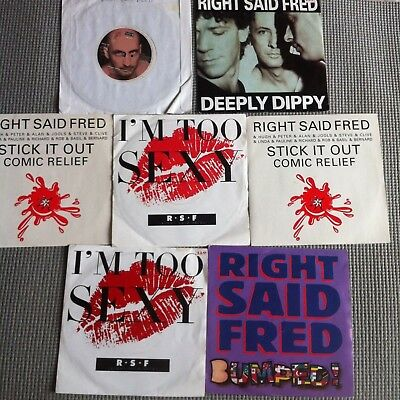 """RIGHT SAID FRED JOB LOT 7"""" 7 x Vinyl Records UK I'm Too Sexy Deeply Dippy Bumped"""
