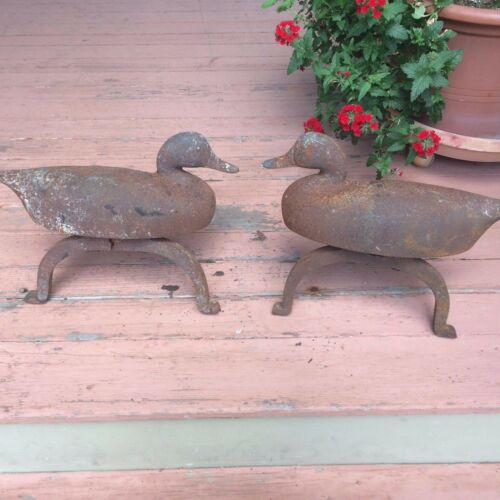 Pair of cast-iron duck form andirons
