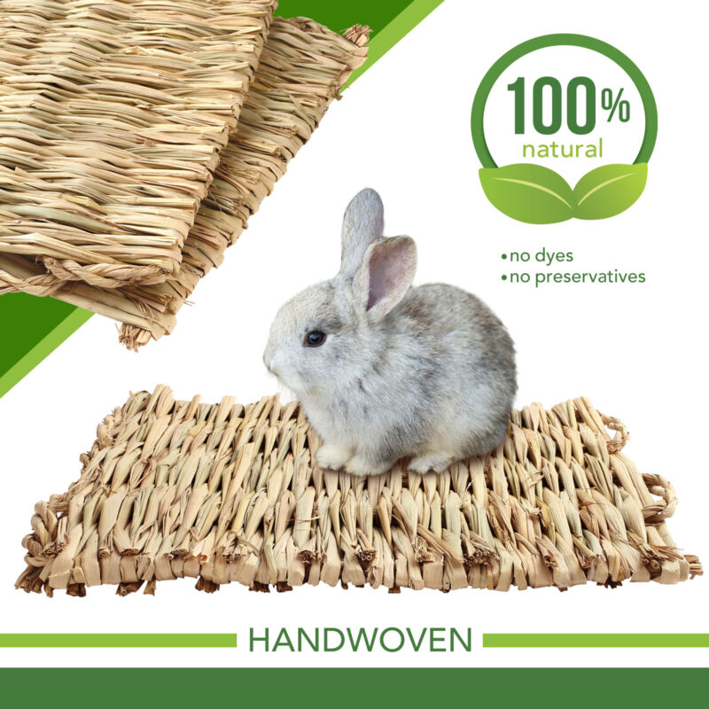 3 Grass Mat Woven Bed Mat for Small Animal Bunny Bedding Nest Chew Toy Bird Play