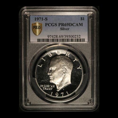 1971-S Eisenhower Silver Dollar - Gold Shield - PCGS PR69 DCAM