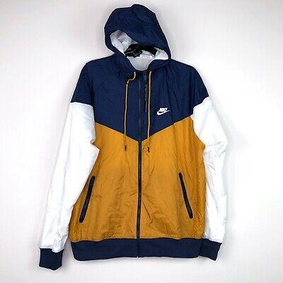 Nike Sportswear Windrunner Jacket White Navy Blue Gold AR2191-727 Men's M-XL Nike Navy Blue Jacket