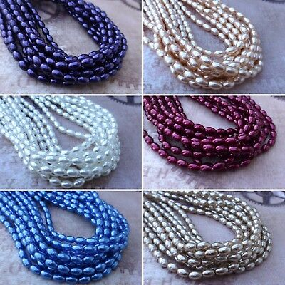Strand of 80 Faux Pearl Beads Rice Glass Pearls Czech Glass Beads Czech Glass Faux Pearls Beads
