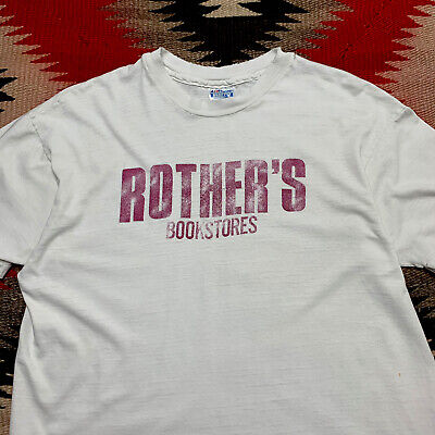 80s Tops, Shirts, T-shirts, Blouse   90s T-shirts Vintage Rothers Bookstores 1980s Distressed Worn Mens Tshirt Size XL Graphic $19.99 AT vintagedancer.com