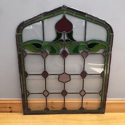Antique Stained Glass Window Leaded Light Art Nouveau Salvage Old Architectural