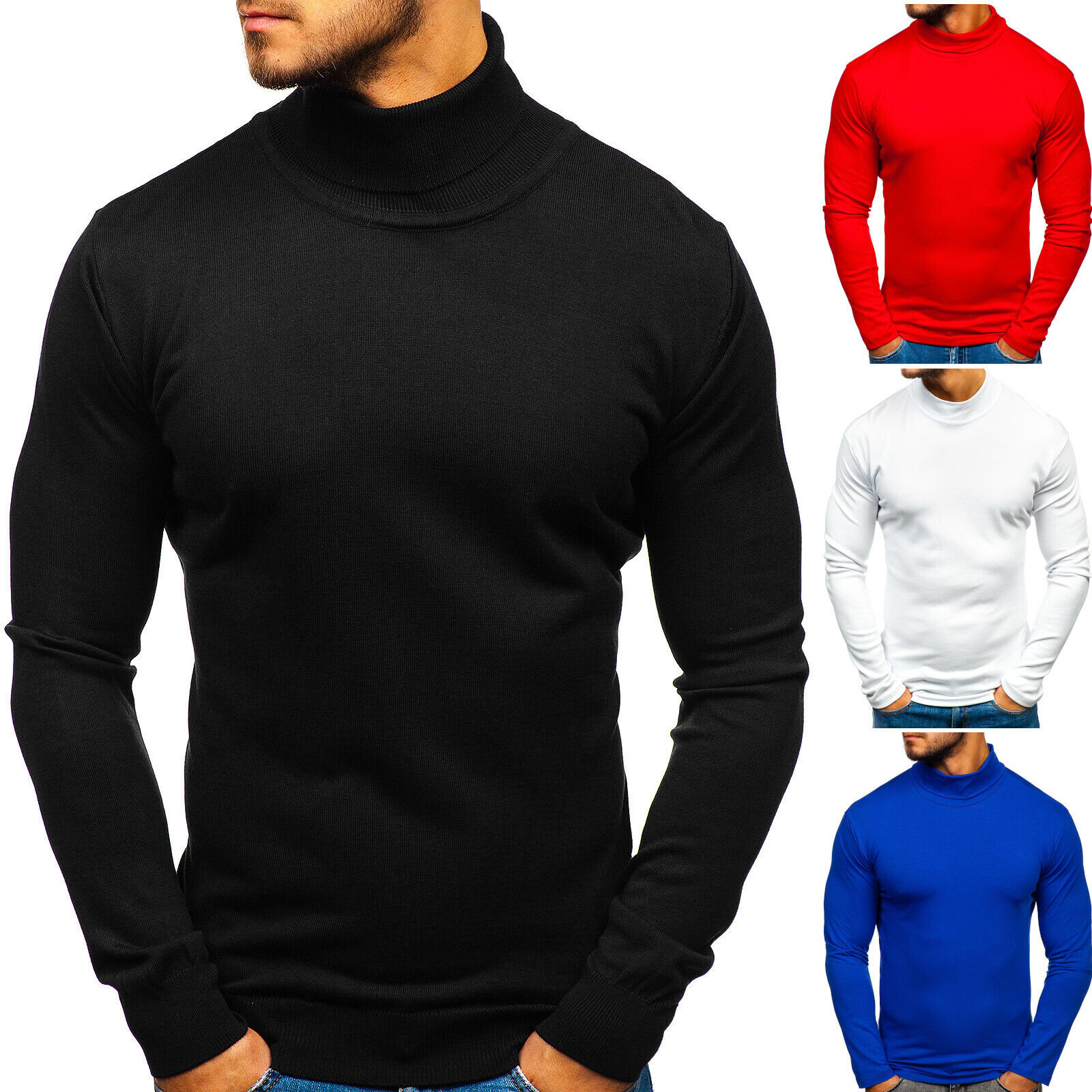 Pullover Sweater Strickjacke Strickpullover Men Herren Mix BOLF 5E5 Rollkragen