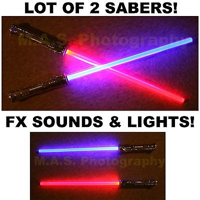 LOT OF 2 STAR WARS WAR FX SOUND LIGHTSABER LIGHT SABER SWORD TOY BEST PRICE!!!