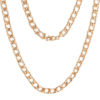 """10k Rose Gold Solid Flat Cuban Link Chain Necklace 24"""" 6.3mm 33 grams"""