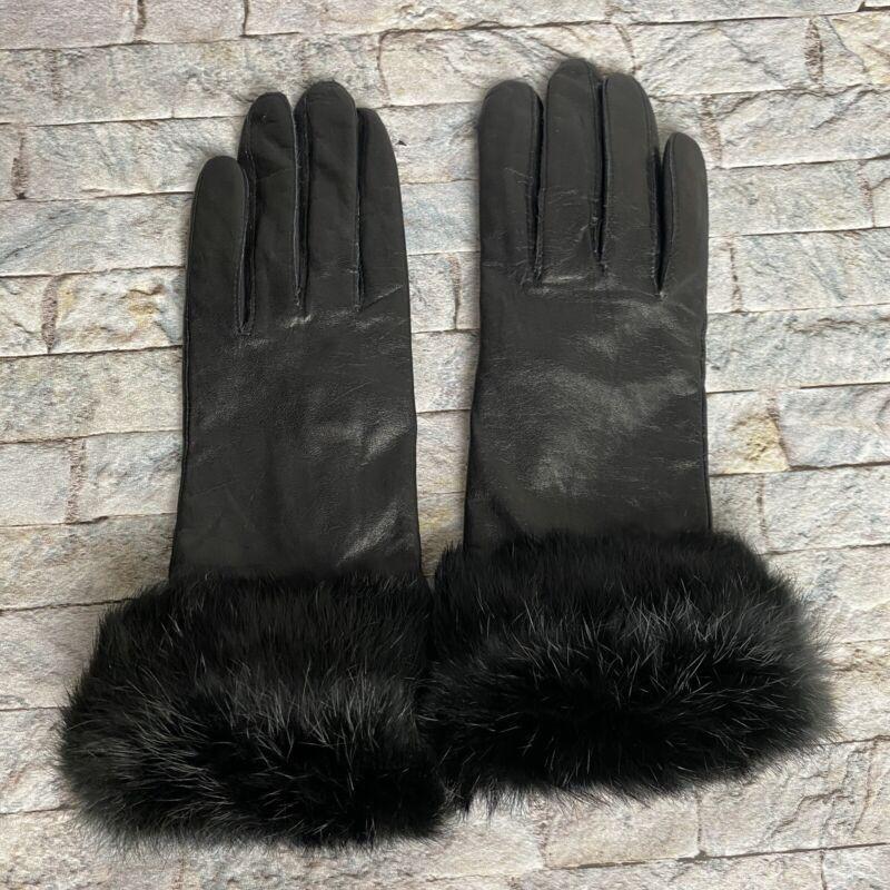 Grandoe 7.5 Womens Black Leather Fur Gloves