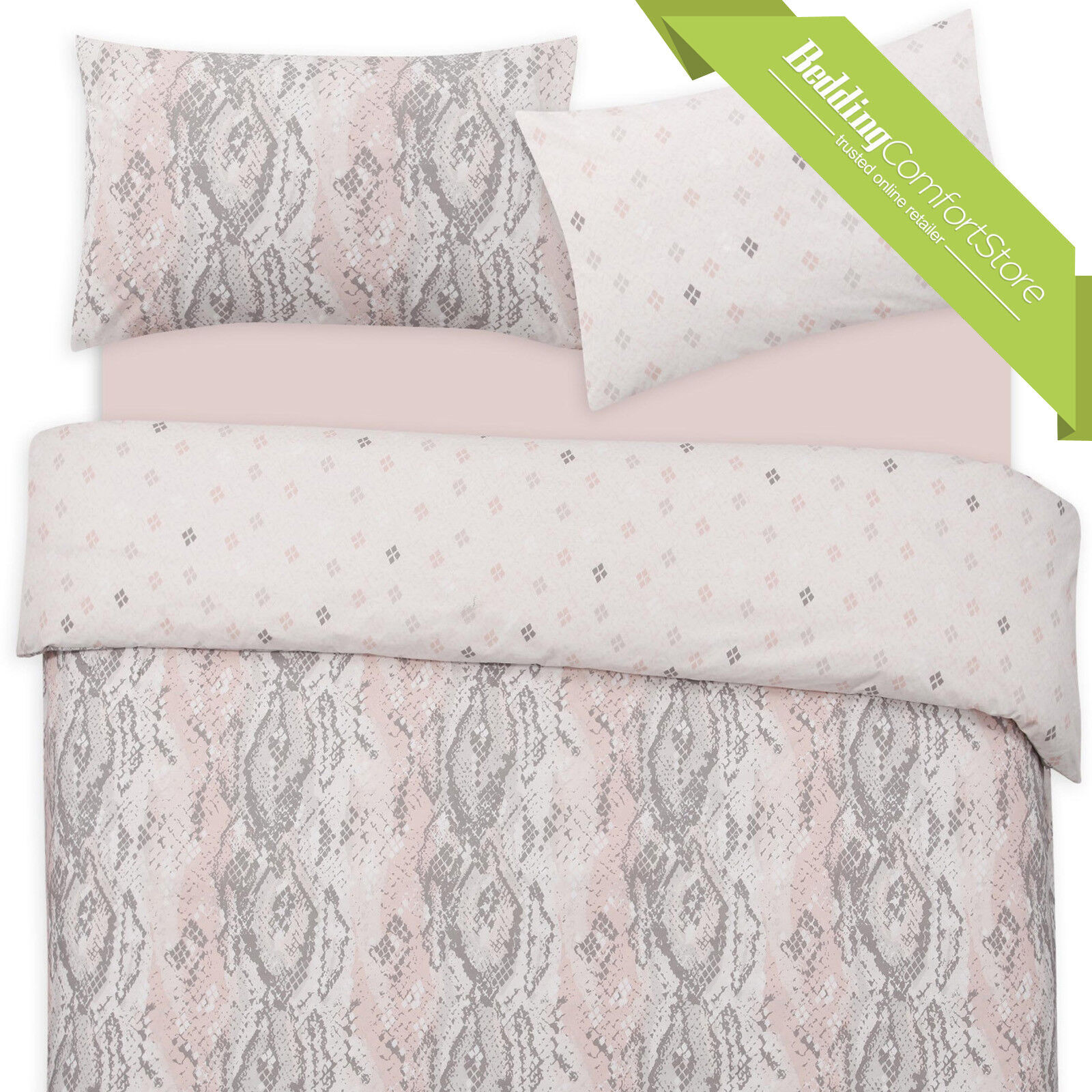 NEW LUXURIOUS PRINTED SNAKE SKIN REVERSIBLE DUVET QUILT COVER WITH PILLOWCASE
