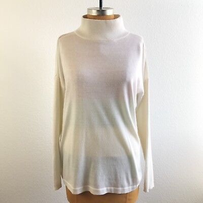 - Vince Camuto Womens Sweater Ivory Mock Turtle Neck Drop Sleeve Size M