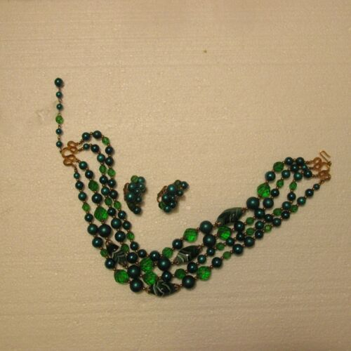 Crown Trifari Set Necklace & Earrings Clip On Signed 4 Strand Beads Crystals