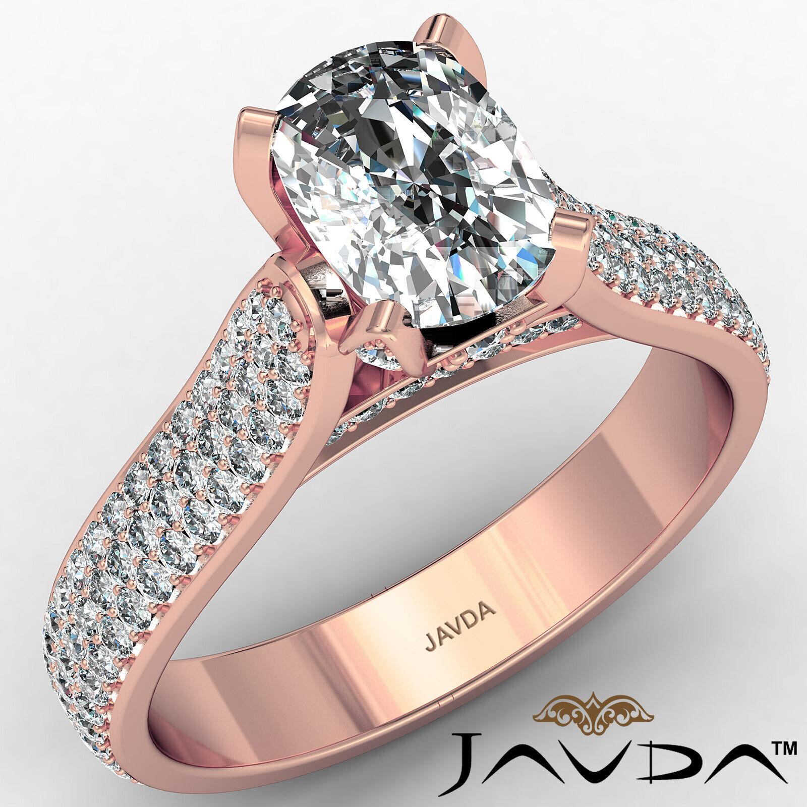 3 Row Shank Cushion Diamond Engagement Ring GIA E Color & SI1 clarity 2.35 ctw 2