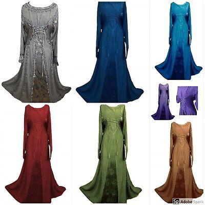 Renaissance Medieval Victorian Gothic Halloween Corset Satin Costume Maxi Dress - Victorian Gothic Halloween Costumes