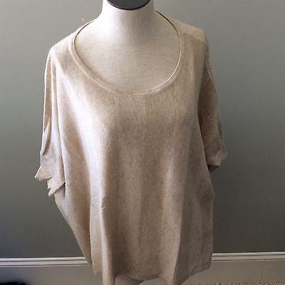 Kerisma Women's Sweater s/M Small Medium Beige Tan Poncho Metallic Thread