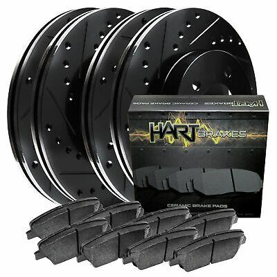 [FRONT+REAR KIT] Black Hart *DRILLED & SLOTTED* Brake Rotors +Ceramic Pads C2450