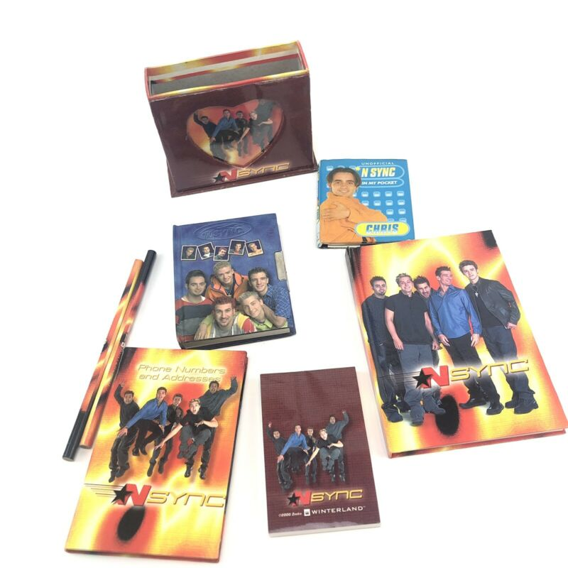 N SYNC Gift Set Diary Notepad Notebook Holder Pencils Address Book 2000 Fan Club
