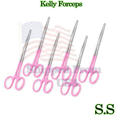 Pink - 6 Kelly Hemostat Forceps 5.5 Straight Surgical Dental Instruments