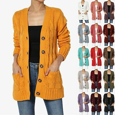 TheMogan S~3X Cozy Button Down V-Neck Cable Knit Sweater Cardigan w/ Pockets 3 Button Cardigan Sweater