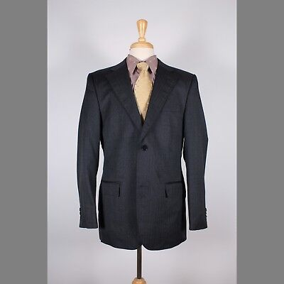 Zara 42R Gray Solid Wool Blend 2B Mens Sport Coat Blazer Suit Jacket