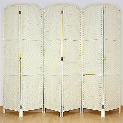 Light Cream 6 Panel Solid Weave Wicker Room Divider Hand Made Privacy Screen