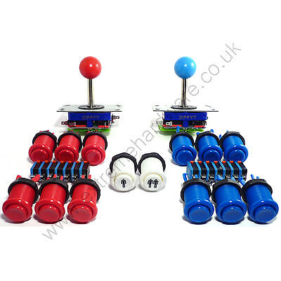 2 Player Arcade Control Kit - 2 Ball Top Joysticks, 14 Buttons - MAME, JAMMA