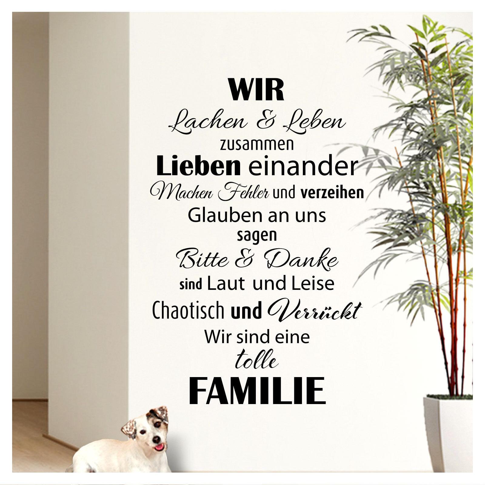Wandtattoo Wandsticker Wandaufkleber Wohnzimmer Flur Familie Spruch Zitat W3301