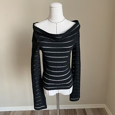 Rare Vintage ROMEO GIGLI Striped Draped Off Shoulder Knit Top Sweater Italy 40
