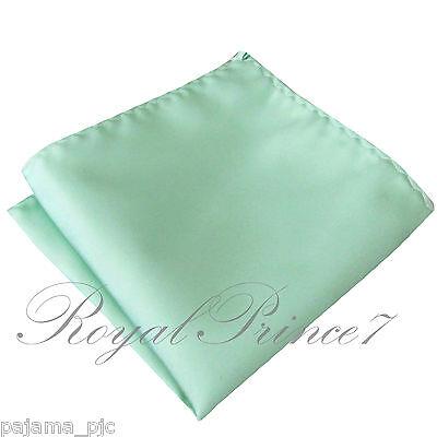 Pastel Mint Green Solid Hankie Hankerchief Pocket Square Hanky Wedding 100V