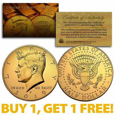 2019-P 24K GOLD Gilded JFK Kennedy Half Dollar Coin (P Mint) BUY 1 GET 1 FREE 24k Gold Coin Mint