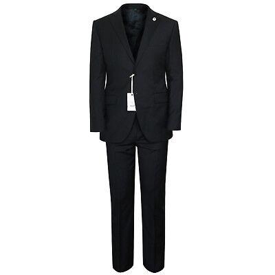 Lubiam  1 295 Dark Blue Slim Italian Virgin Wool Lbm Suit 42 Us 52 It 7 R New