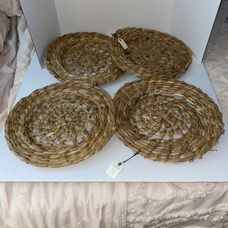 Hearth & Hand Magnolia  CHARGER PLATES Woven  Set of 4 SOLD OUT NWT