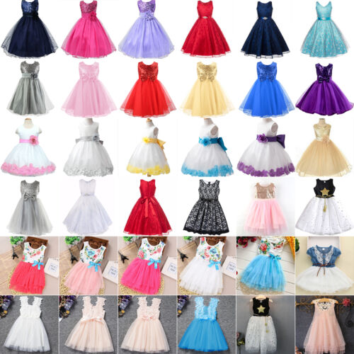 Baby Kid Flower Girl Wedding Princess Dresses Summer Party P