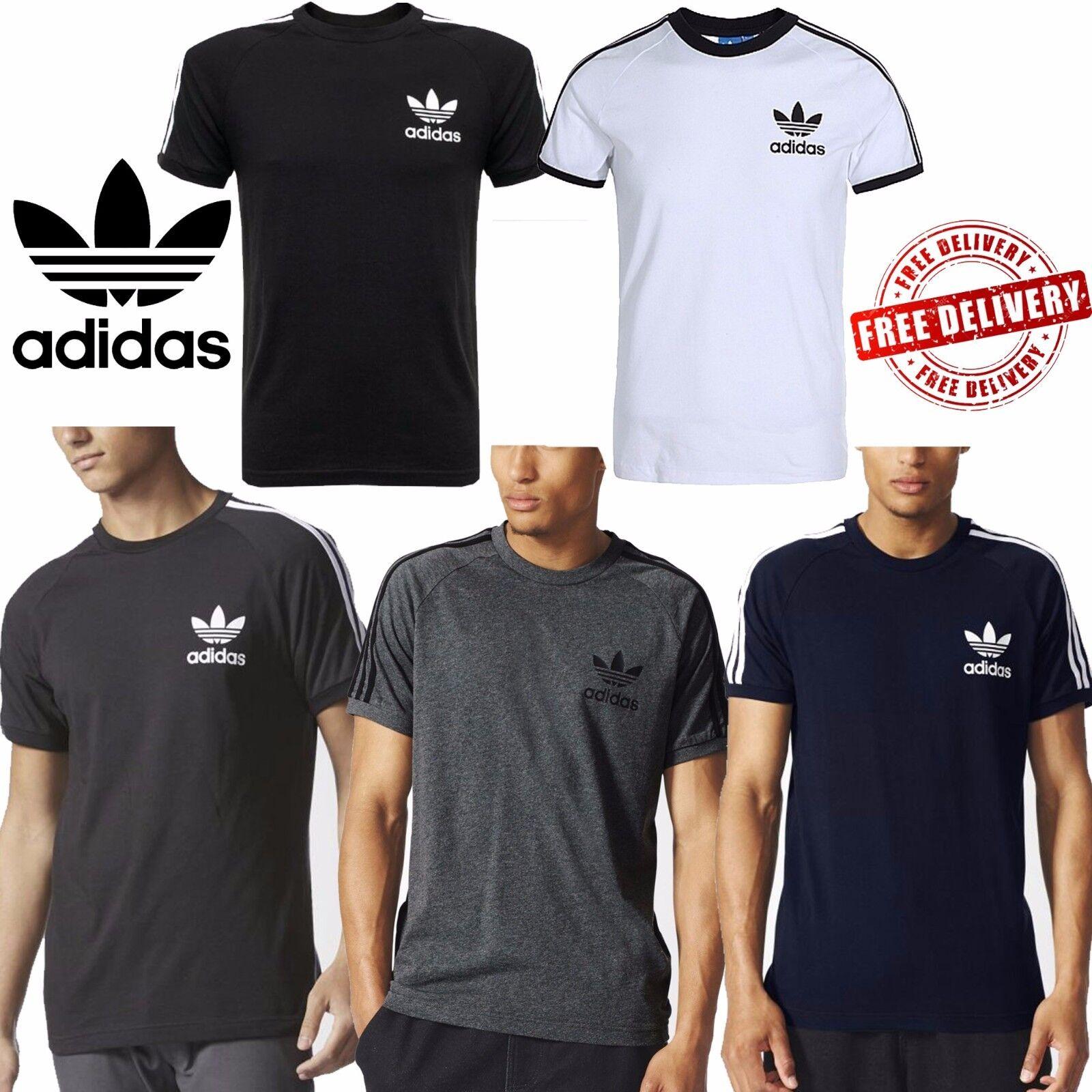 Details zu adidas Mens Original California T Shirts Trefoil Logo Sports 3 Stripes Top Tees