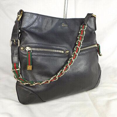 Authentic Rare Vintage Gucci Capri Black Leather Medium Hobo Shoulder Bag VGC