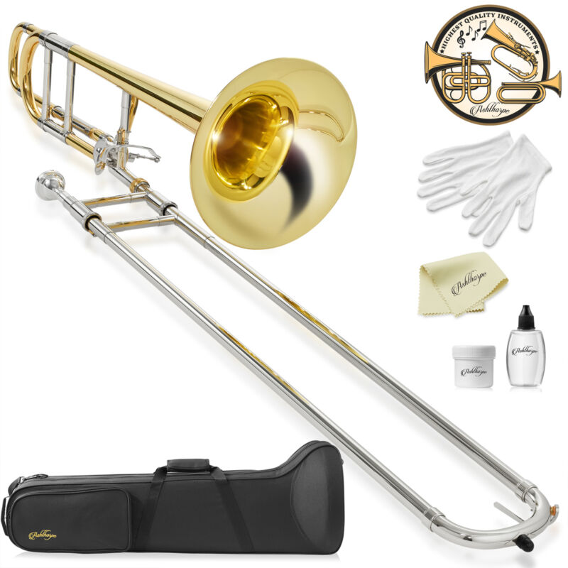 Bb Tenor Trombone w/ F Trigger, Gold Lacquer Finish, Brass Band Instrument, Case