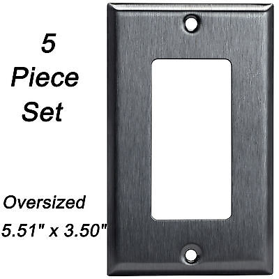 (Stainless Steel Oversized Wall Plate 1 Gang Decorator Outlet Cover GFCI (5 Pack))