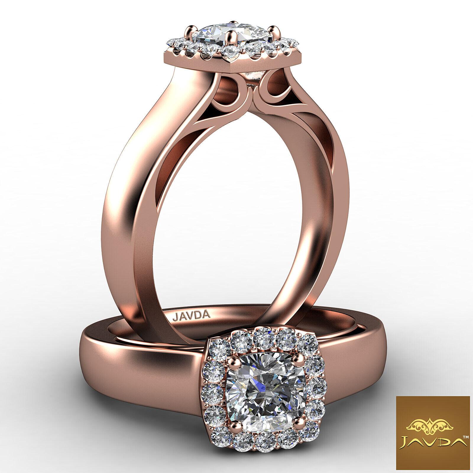 Filigree Shank U Cut Prong Cushion Diamond Engagement GIA H Color VS1 Ring 0.7Ct 8