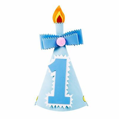 Foam Party Hats No. 1 / One First 1st Birthday for Kid, Child, Baby - Boys Blue