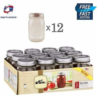 Kerr Mason Glass Jars Pint (16 Oz) Regular Mouth with Lids and Bands, Set of 12