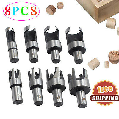 8pcs Carbon Steel Wood Plug Hole Dowel Cutter Drill Bit 10mm Shank 6101316mm