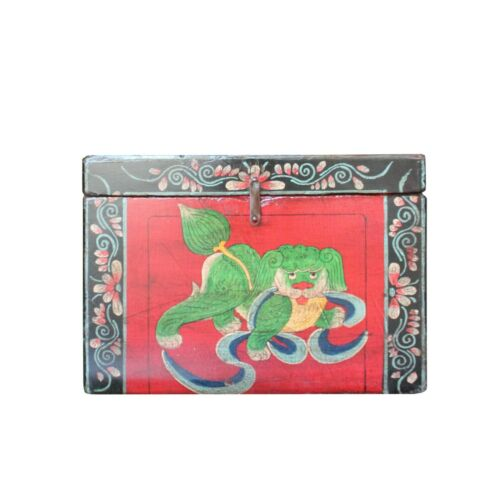 Chinese Vintage Red Black Graphic Theme Trunk Box Chest cs5000