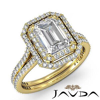 Double Halo Pave Split Shank Emerald Diamond Engagement Ring GIA H VS2 2.6 Ct 6