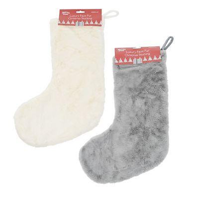 Christmas Stocking Faux Fur Fleece Lining Hanging Loop 55cm (Country Christmas Stockings)